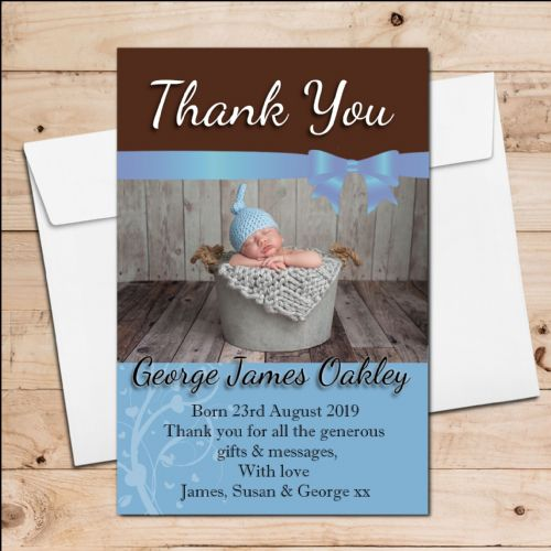 10 Personalised New Baby Boy Birth Announcement Thank You PHOTO cards N90